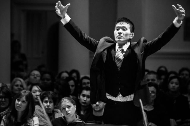 Composer Sung Jin Hong conducting his world premiere: Breaking Bad -- Ozymandias. Photo by Jaka Vinšek.